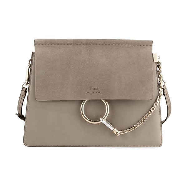 Chloe Faye Medium Flap Shoulder Bag in motty grey