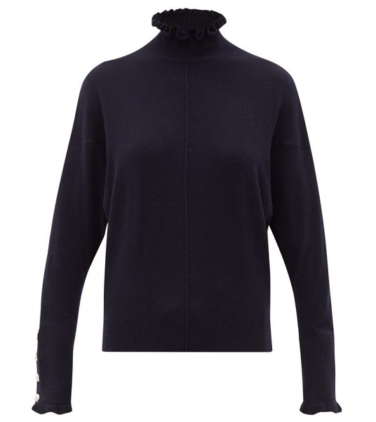 Chloe flounced edge high neck cashmere sweater in navy