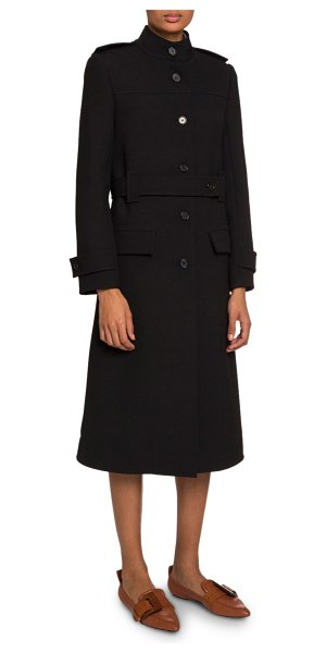 Chloe High-Neck Belted Button-Front Coat in black