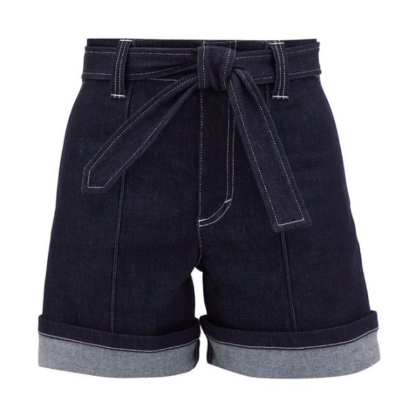 Chloe high-rise belted denim shorts in denim