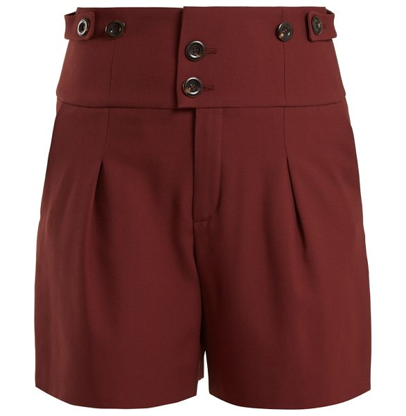 Chloe High Waist Double Button Shorts in burgundy