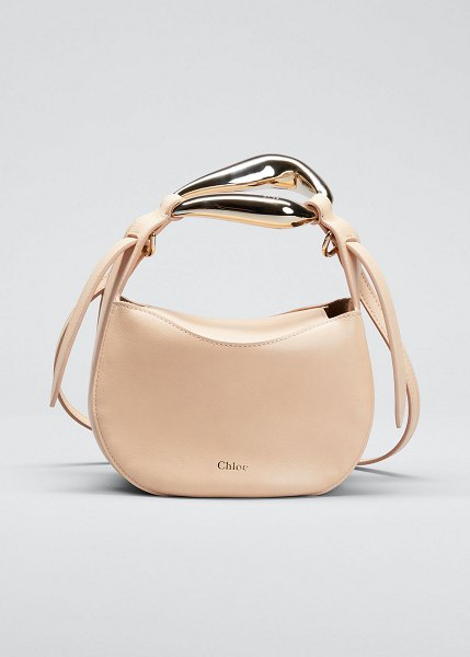 Chloe Kiss Bicolor Small Leather Hobo Bag in sandy beige