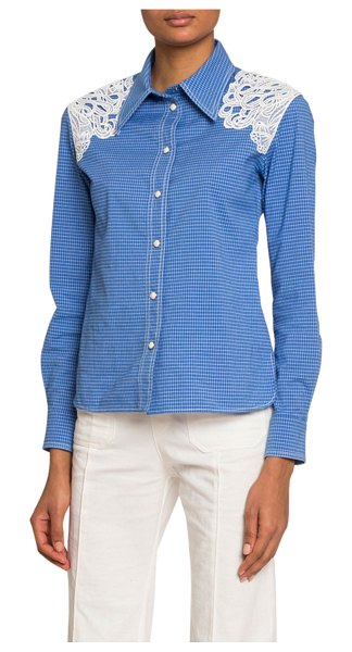 Chloe Lace-Shoulder Checked Button-Front Shirt in blue/white