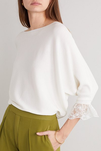 Chloe lace-trimmed ribbed wool and silk-blend sweater in white
