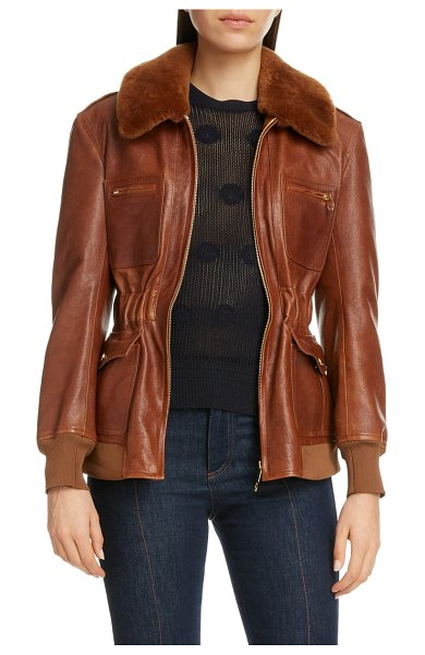 Chloe lambskin leather jacket with genuine shearling trim in sharp brown
