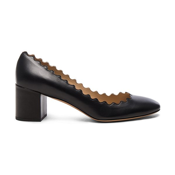 CHLOE Lauren Leather Scallop Pumps in black - Leather upper and sole.  Made in Italy.  Approx 50mm/ 2...