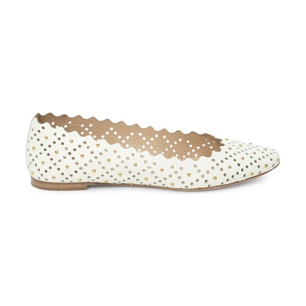 Chloe Lauren Perforated & Studded Leather Ballet Flats in black