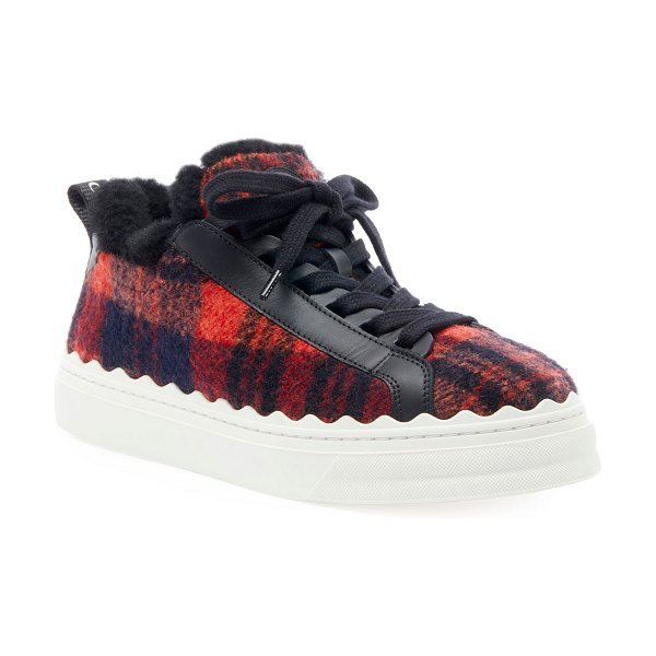 Chloe Lauren Plaid Wool Sneakers in red pattern