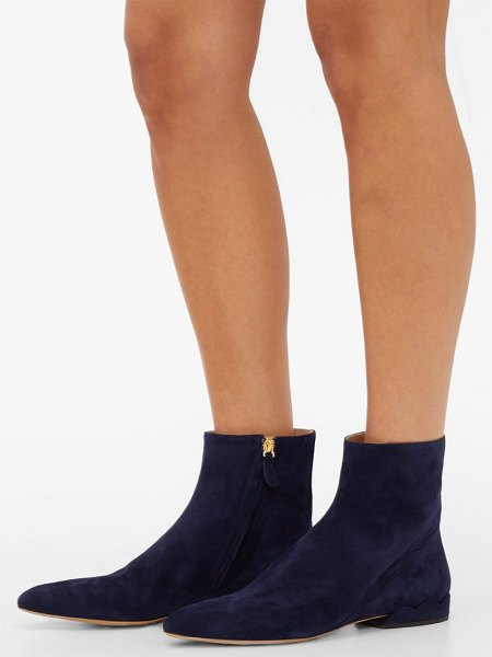 Chloe laurena scalloped suede ankle boots in navy