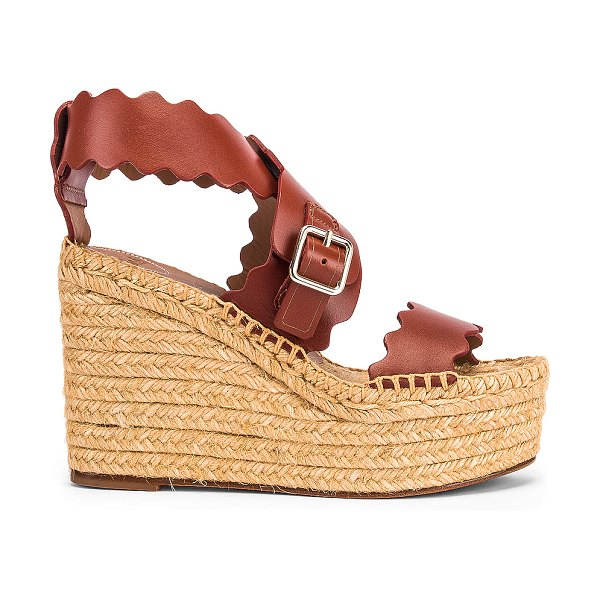 Chloe leather wedges in sepia brown