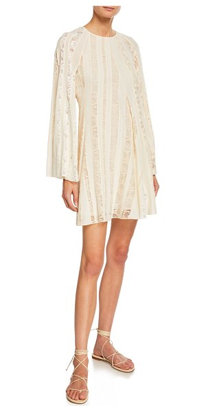 Chloe Long-Sleeve Lace-Inset Crepe de Chine Dress in white