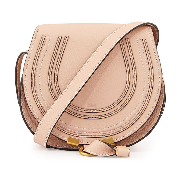 Chloe Marcie Small Leather Crossbody Bag in neutral - Chloe calfskin bag with tonal topstitching. Golden...