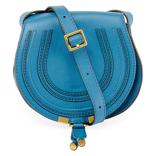 Chloe Marcie Small Leather Crossbody Bag in medium blue - Pebbled calfskin leather. Golden hardware. Adjustable...