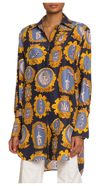 Chloe Medallion-Print Silk Button-Front Shirt in blue