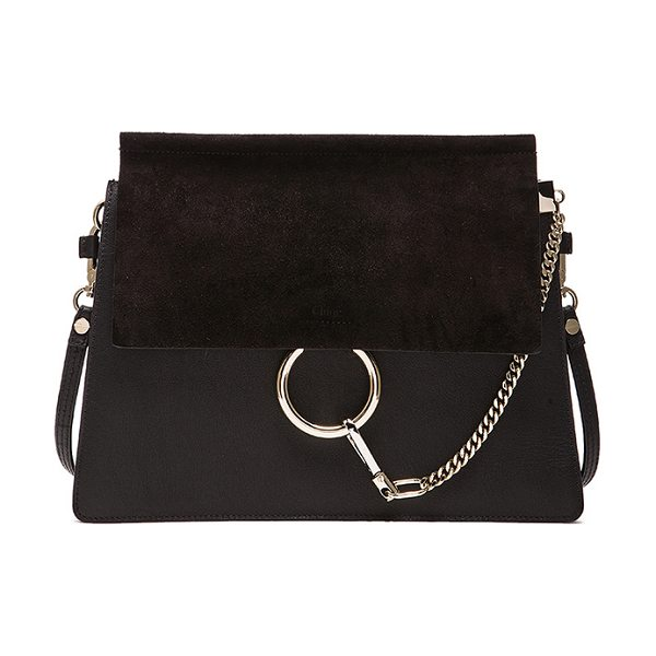 "Chloe Medium Faye Suede & Calfskin Shoulder Bag in black - ""Calfskin leather with suede calfskin lining and pale..."