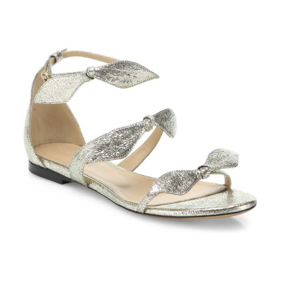 a7dab445f726 Chloe mia metallic leather knotted bow flat sandals in grey - Strappy  metallic sandal with feminine