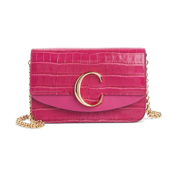 Chloe mini c croc embossed leather shoulder bag in graphic pink