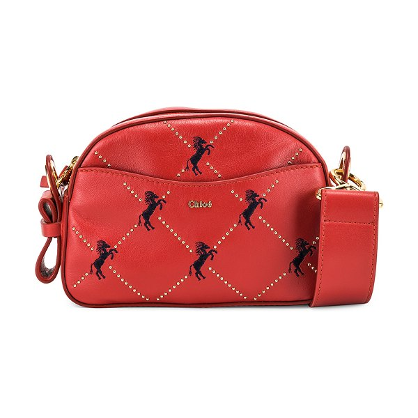 Chloe signature embroidered leather belt bag in earthy red - Chloe Signature Embroidered Leather Belt Bag in Red....