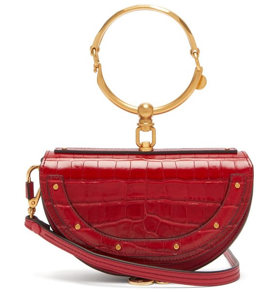 Chloe nile leather minaudière clutch bag in red