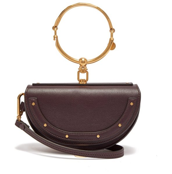 Chloe nile leather minaudière clutch bag in burgundy