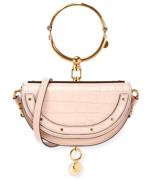 Chloe Nile Metallic Minaudiere Shoulder Bag in light pink - Chloe metallic leather minaudiere with golden hardware...