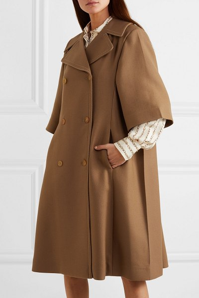Chloe oversized double-breasted wool and silk-blend twill coat in brown