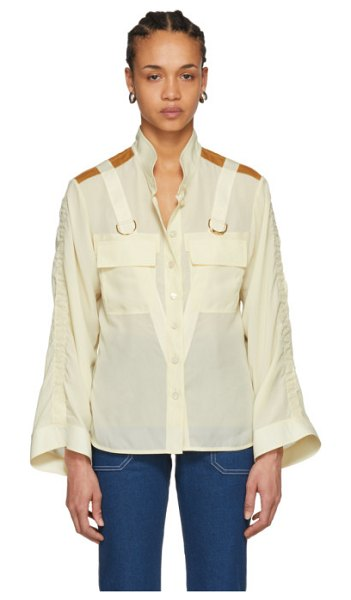 Chloe beige patch pocket d-ring shirt in 24u butterc