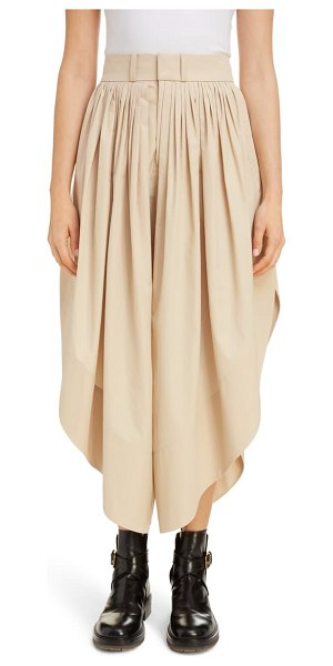 Chloe pleated cotton culottes in soften brown