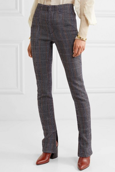 Chloe prince of wales checked stretch-wool blend slim-leg pants in gray
