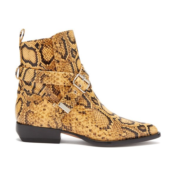 Chloe python-effect leather ankle boots in black yellow