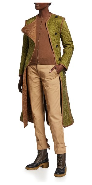 Chloe Quilted Silk Ponge Belted Coat in mayfly green