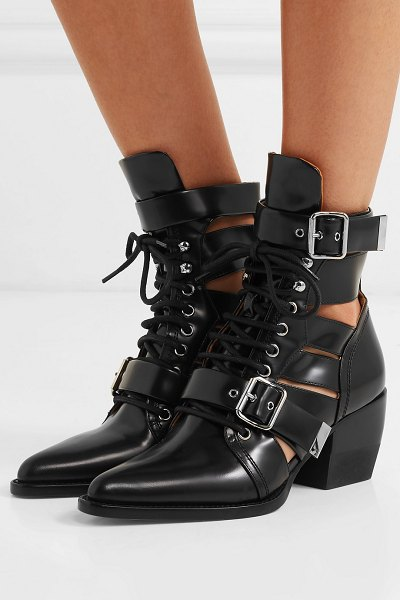 Chloe rylee cutout glossed-leather ankle boots in black - Natacha Ramsay-Levi debuted so many hits in her first...