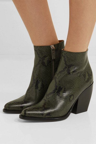 Chloe rylee snake-effect leather ankle boots in dark green