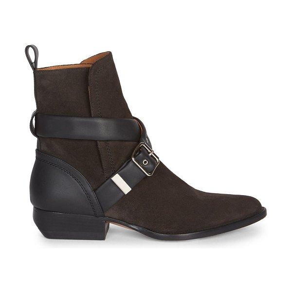 Chloe rylee buckle suede ankle boots in natural,charcoal