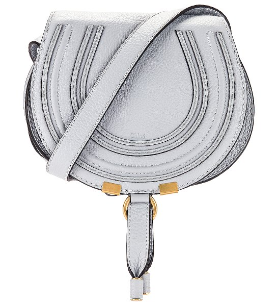 Chloe small marcie grained calfskin saddle bag in light cloud