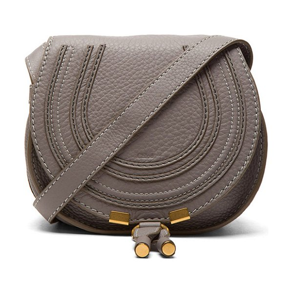 "CHLOE Small Marcie Grained Calfskin Saddle Bag - ""Genuine calfskin leather with cotton-twill fabric lining..."