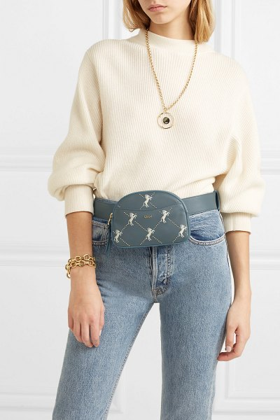 Chloe studded embroidered leather belt bag in blue - EXCLUSIVE AT NET-A-PORTER.COM. Chloé's gray-green bag is...