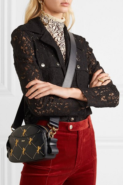 Chloe studded embroidered leather shoulder bag in navy - EXCLUSIVE AT NET-A-PORTER.COM. Chloé's bag is crafted...