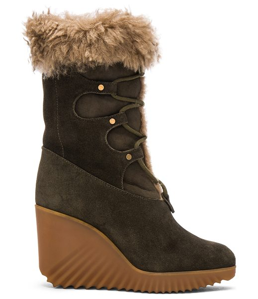 Chloe Suede Foster Wedge Boots in green - Suede upper with rubber sole.  Made in Italy.  Fur...