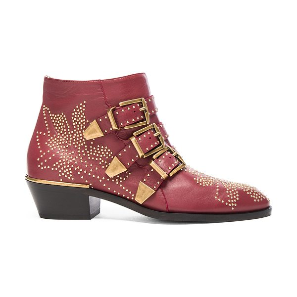 CHLOE Susanna Leather Studded Booties in red - Leather upper and sole.  Made in Italy.  Approx 40mm/...