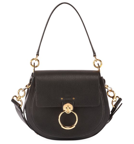 Chloe Tess Medium Grained Crossbody Bag in black