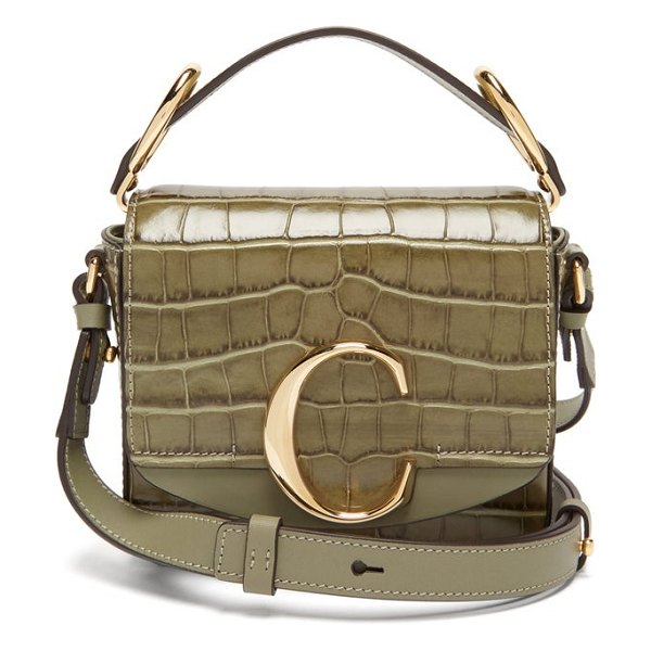 Chloe the c mini crocodile effect leather cross body bag in khaki