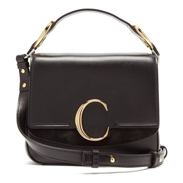 Chloe the c small square leather cross body bag in black