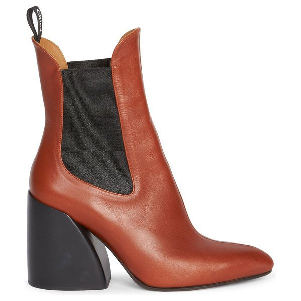 Chloe wave chelsea leather booties in sepia brown,black