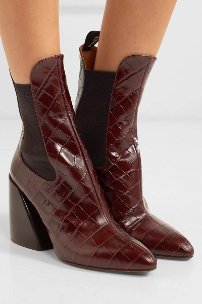 Chloe wave croc-effect leather ankle boots in dark brown - One of Chloé's new styles for the season, these 'Wave'...