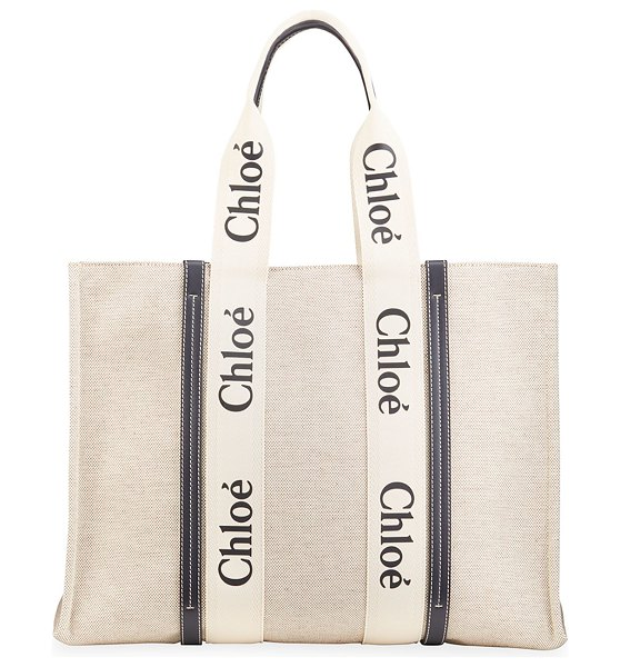 Chloe Woody Large Logo Canvas Shopper Tote Bag in white/blue