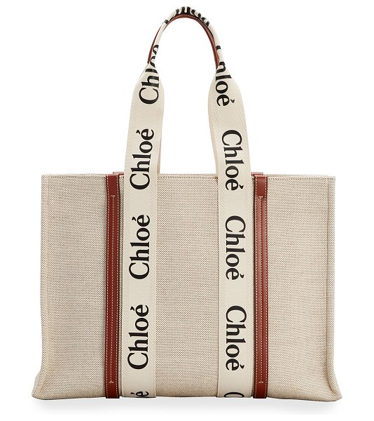 Chloe Woody Large Logo Canvas Shopper Tote Bag in white/brown