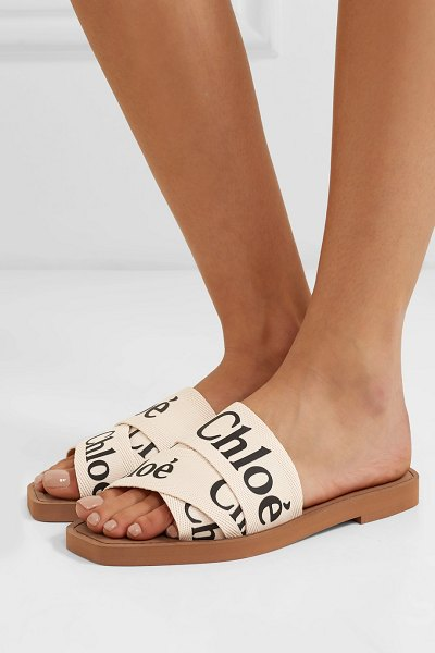 Chloe woody logo-print canvas slides in white - Chloé's 'Woody' slides are made from layers of white...