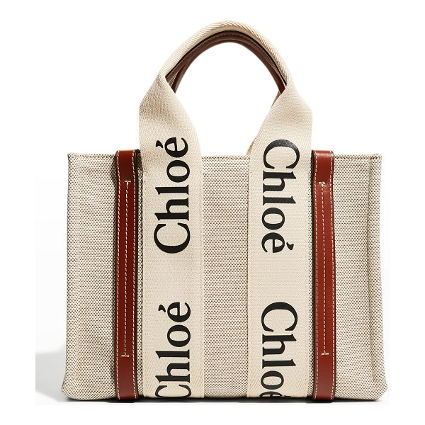 Chloe Woody Small Canvas Tote Crossbody Bag in white/brown