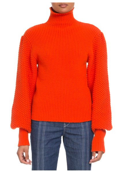 Chloe Wool-Cashmere Balloon-Sleeve Turtleneck Sweater in red